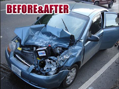 Photo gallery of before and after pictures of automobile crashes and repairs